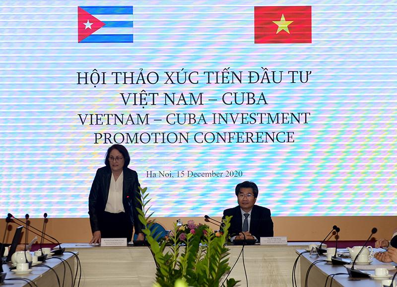 Ông Đỗ Nhật Hoàng – Cục trưởng Cục đầu tư nước ngoài và bà Irima Perojo – Tham tán Thương mại và Kinh tế Đại sứ quán Cuba tại Việt Nam chủ trì hội thảo