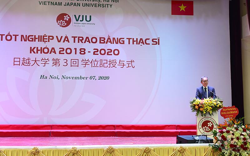 Ngài Takio Yamada – Đại sứ đặc mệnh toàn quyền Nhật Bản tại Việt Nam phát biểu chúc mừng tại buổi lễ