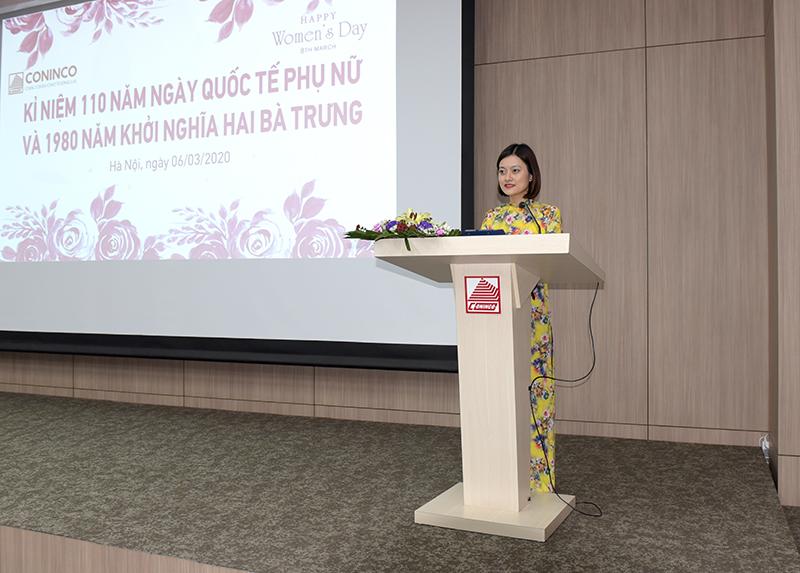 Đ/c Phạm Thị Hạnh Mai - Trưởng Ban nữ công chia sẻ về lịch sử ngày quốc tế phụ nữ