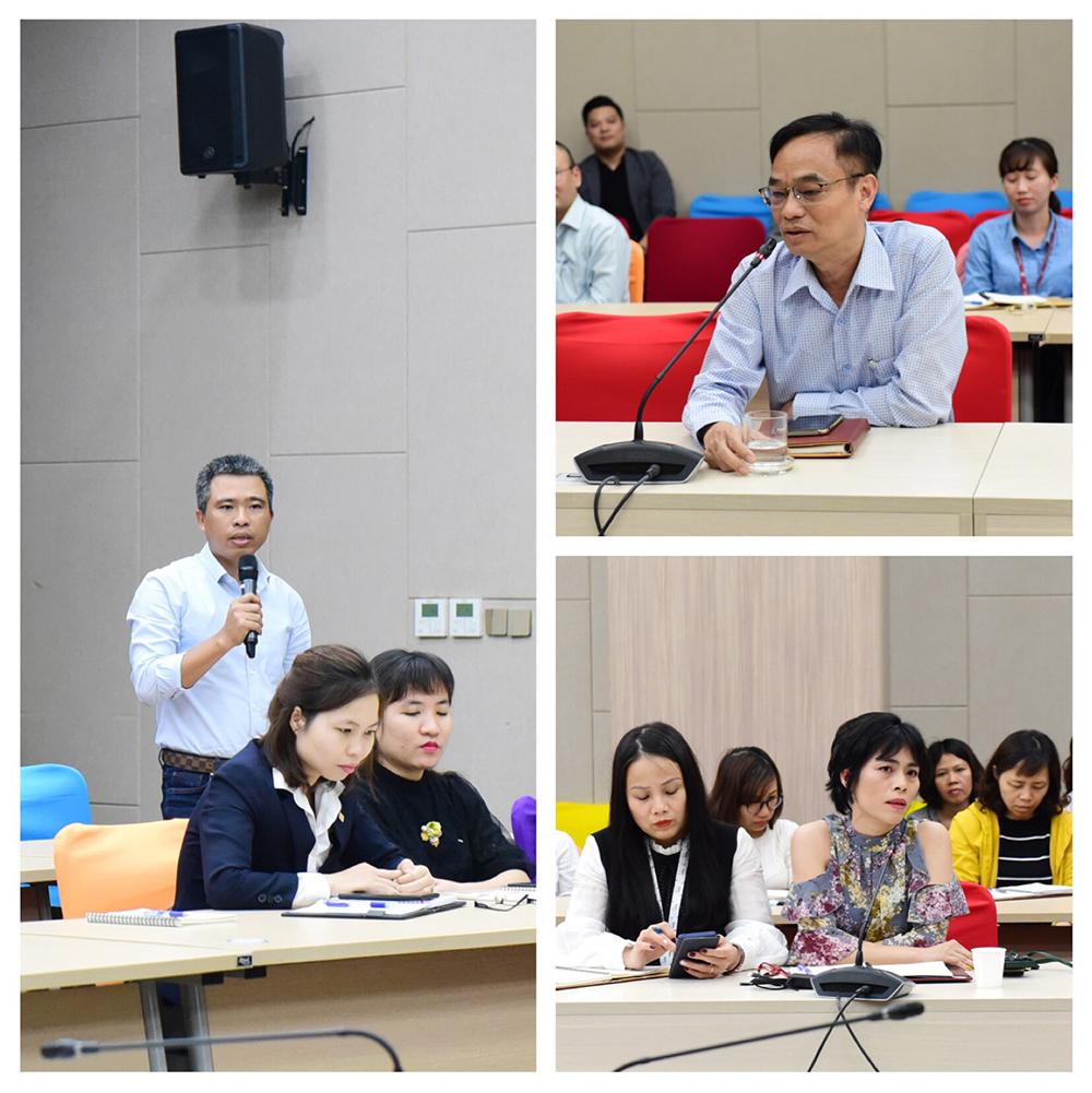 Các báo cáo viên trình bày tại buổi tập huấn và thảo luận, giải đáp thắc mắc cùng toàn thể cán bộ tham gia buổi tập huấn