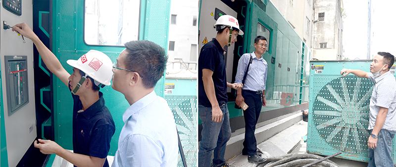 Kĩ sư BQLDA và đại diện nhà thầu kiểm tra hệ thống máy phát điện và hướng dẫn cho công nhân vận hành